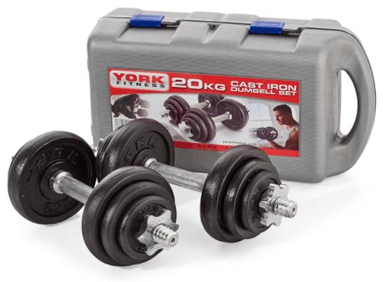 York Fitness jeu d'halteres en fonte de 20 kg