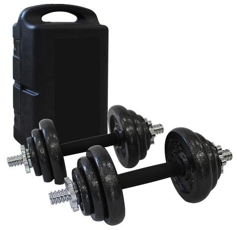 set d'halteres de 20 kgs avec mallette de rangement