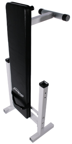 test Physionics - banc de musculation pliable avec support pour haltere et station à dips